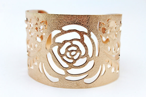 Gold Metal Cuff Cut Outs Adjustable Bracelet Light Flowers New Women Fashion Jewelry Accessories - alwaystyle4you - 8