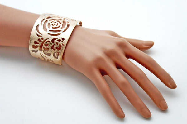 Gold Metal Cuff Cut Outs Adjustable Bracelet Light Flowers New Women Fashion Jewelry Accessories - alwaystyle4you - 9