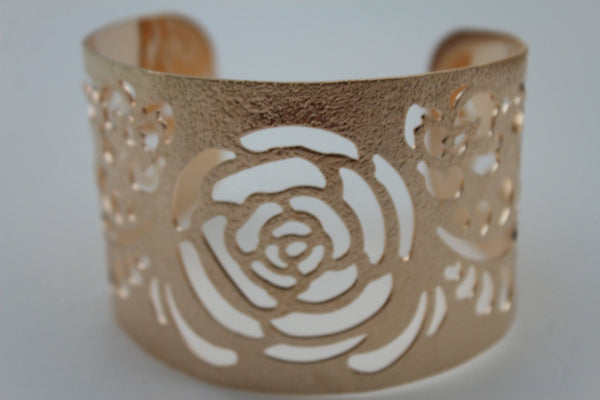 Gold Metal Cuff Cut Outs Adjustable Bracelet Light Flowers New Women Fashion Jewelry Accessories - alwaystyle4you - 10