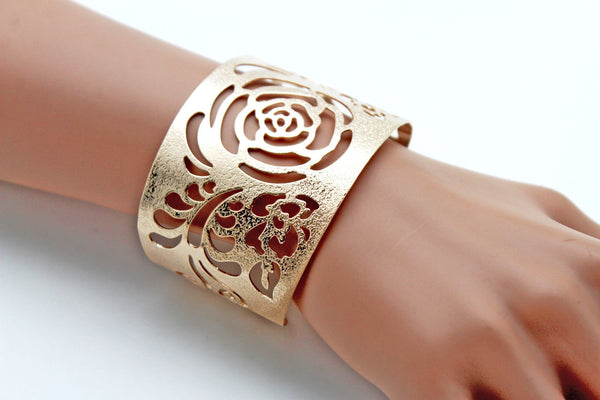 Gold Metal Cuff Cut Outs Adjustable Bracelet Light Flowers New Women Fashion Jewelry Accessories - alwaystyle4you - 2