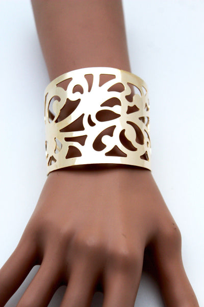 Gold Metal Cuff Bracelet Light Leaves Hollow Shape Cut Outs Adjustable New Women Accessories
