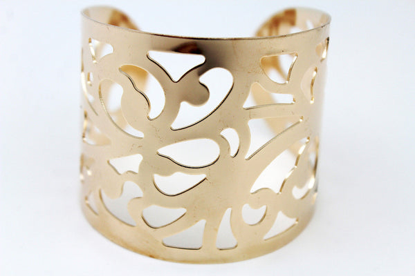 Gold Metal Cuff Bracelet Light Leaves Hollow Shape Cut Outs Adjustable New Women Fashion Jewelry Accessories - alwaystyle4you - 3