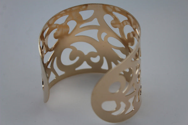 Gold Metal Cuff Bracelet Light Leaves Hollow Shape Cut Outs Adjustable New Women Fashion Jewelry Accessories - alwaystyle4you - 5