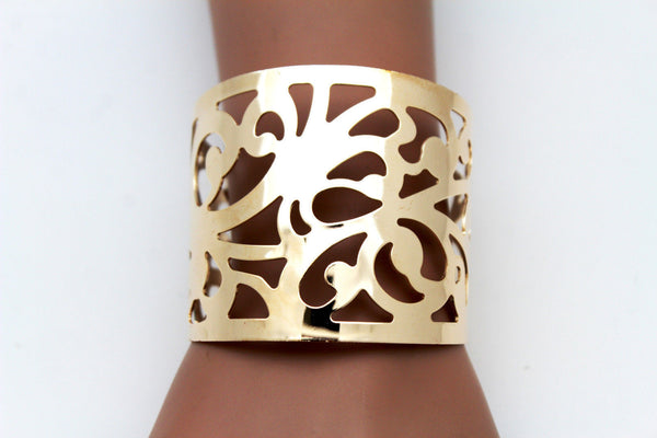 Gold Metal Cuff Bracelet Light Leaves Hollow Shape Cut Outs Adjustable New Women Fashion Jewelry Accessories - alwaystyle4you - 6