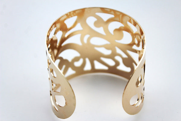 Gold Metal Cuff Bracelet Light Leaves Hollow Shape Cut Outs Adjustable New Women Fashion Jewelry Accessories - alwaystyle4you - 7