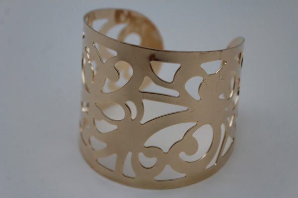 Gold Metal Cuff Bracelet Light Leaves Hollow Shape Cut Outs Adjustable New Women Fashion Jewelry Accessories - alwaystyle4you - 9