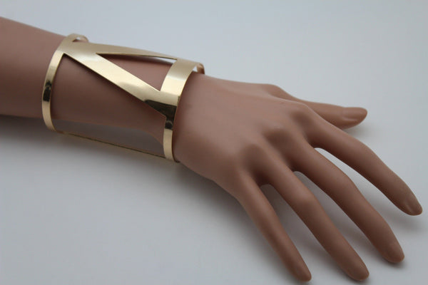 Gold Metal Cuff Bracelet Long V Shape Cut Outs Adjustable New Women Fashion Jewelry Accessories - alwaystyle4you - 5