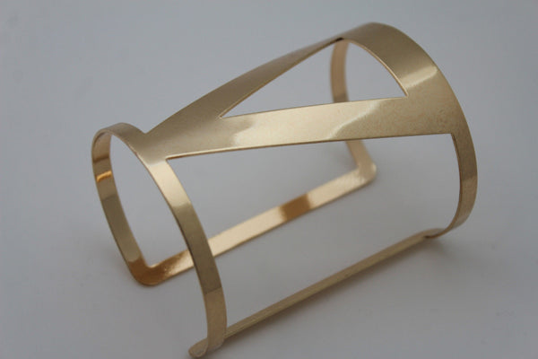 Gold Metal Cuff Bracelet Long V Shape Cut Outs Adjustable New Women Fashion Jewelry Accessories - alwaystyle4you - 6