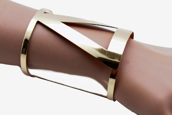 Gold Metal Cuff Bracelet Long V Shape Cut Outs Adjustable New Women Fashion Jewelry Accessories