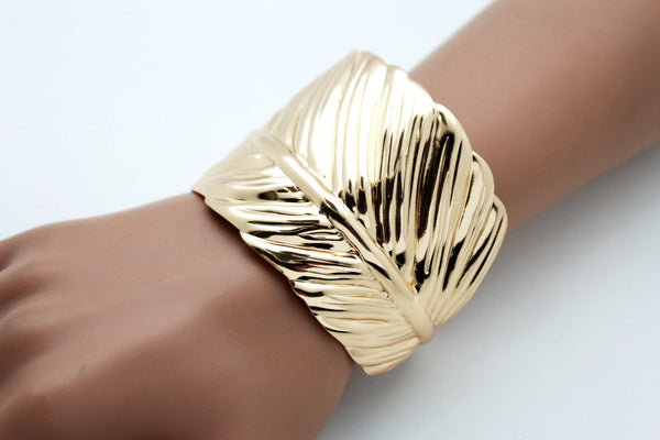 Silver / Gold Metal Cuff Bracelet Long Leaf Wrap Around Adjustable New Women Fashion Jewelry Accessories - alwaystyle4you - 2