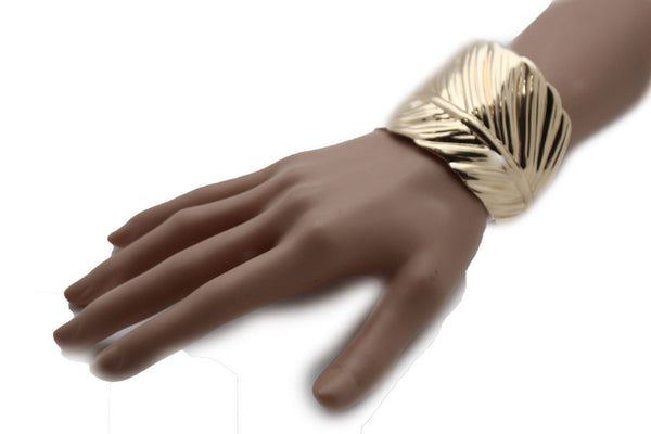 Silver / Gold Metal Cuff Bracelet Long Leaf Wrap Around Adjustable New Women Fashion Jewelry Accessories - alwaystyle4you - 16