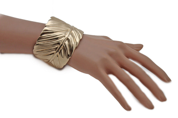 Silver / Gold Metal Cuff Bracelet Long Leaf Wrap Around Adjustable New Women Fashion Jewelry Accessories - alwaystyle4you - 17