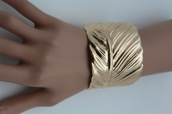 Silver / Gold Metal Cuff Bracelet Long Leaf Wrap Around Adjustable New Women Fashion Jewelry Accessories - alwaystyle4you - 21