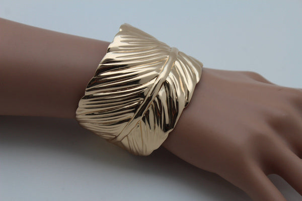 Silver / Gold Metal Cuff Bracelet Long Leaf Wrap Around Adjustable New Women Fashion Jewelry Accessories - alwaystyle4you - 19