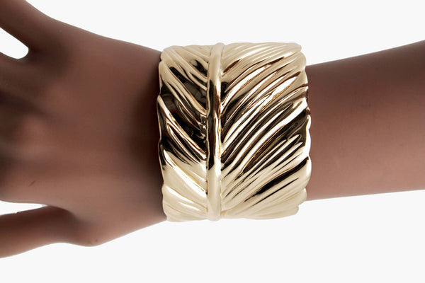 Silver / Gold Metal Cuff Bracelet Long Leaf Wrap Around Adjustable New Women Fashion Jewelry Accessories - alwaystyle4you - 22