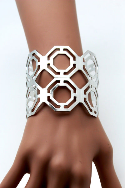 Gold / Silver Thin Metal Hand Cuff Bracelet Geometric Shapes New Women Fashion Jewelry Accessories - alwaystyle4you - 2