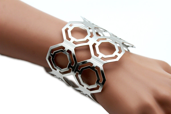 Gold / Silver Thin Metal Hand Cuff Bracelet Geometric Shapes New Women Fashion Jewelry Accessories - alwaystyle4you - 23