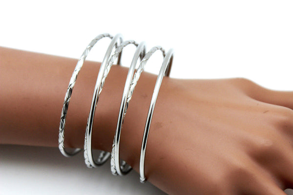 Gold / Silver Metal Cuff Bracelet Bangles String Spring Adjustable New Women Fashion Jewelry Accessories - alwaystyle4you - 21