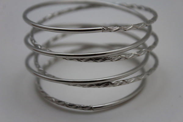 Gold / Silver Metal Cuff Bracelet Bangles String Spring Adjustable New Women Fashion Jewelry Accessories - alwaystyle4you - 16