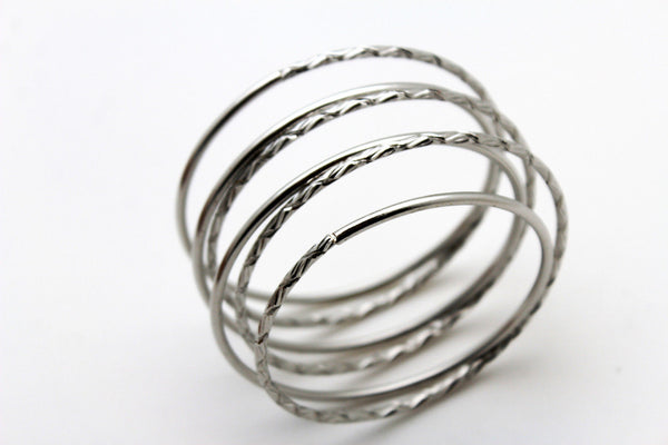 Gold / Silver Metal Cuff Bracelet Bangles String Spring Adjustable New Women Fashion Jewelry Accessories - alwaystyle4you - 18