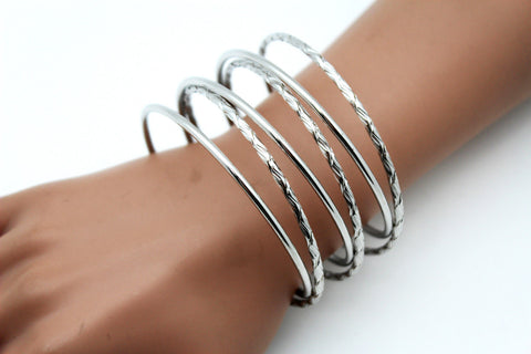 Gold / Silver Metal Cuff Bracelet Bangles String Spring Adjustable New Women Fashion Jewelry Accessories - alwaystyle4you - 1