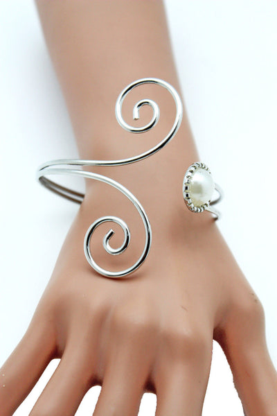 Silver Metal Cuff Bracelet Bangle Geometric Wrap Around Big Bead And Rhinestones Adjustable Women Fashion Jewelry Accessories - alwaystyle4you - 8