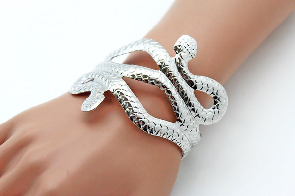 Gold / Silver Metal Cuff Bracelet Cobra Snake Trendy Wrap Around New Women Fashion Jewelry Accessories - alwaystyle4you - 15