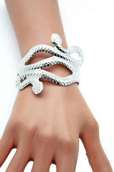 Gold / Silver Metal Cuff Bracelet Cobra Snake Trendy Wrap Around New Women Fashion Jewelry Accessories - alwaystyle4you - 2