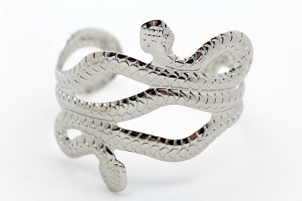 Gold / Silver Metal Cuff Bracelet Cobra Snake Trendy Wrap Around New Women Fashion Jewelry Accessories - alwaystyle4you - 16