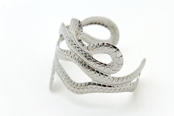 Gold / Silver Metal Cuff Bracelet Cobra Snake Trendy Wrap Around New Women Fashion Jewelry Accessories - alwaystyle4you - 22