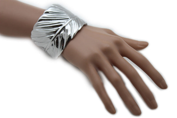 Silver / Gold Metal Cuff Bracelet Long Leaf Wrap Around Adjustable New Women Fashion Jewelry Accessories - alwaystyle4you - 10