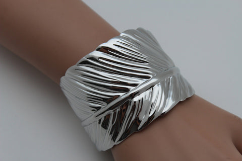 Silver / Gold Metal Cuff Bracelet Long Leaf Wrap Around Adjustable New Women Fashion Jewelry Accessories - alwaystyle4you - 1