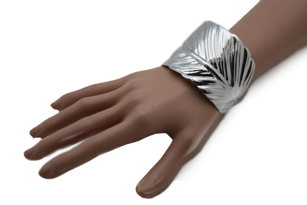 Silver / Gold Metal Cuff Bracelet Long Leaf Wrap Around Adjustable New Women Fashion Jewelry Accessories - alwaystyle4you - 6