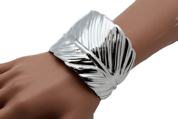Silver / Gold Metal Cuff Bracelet Long Leaf Wrap Around Adjustable New Women Fashion Jewelry Accessories - alwaystyle4you - 3
