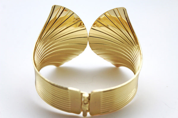 Gold Metal Yellow Cuff Bracelet Stripes Wings Fans Trendy New Women Fashion Jewelry Accessories - alwaystyle4you - 11