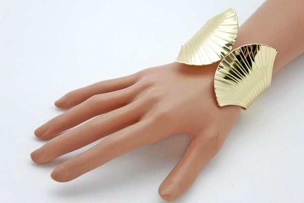 Gold Metal Yellow Cuff Bracelet Stripes Wings Fans Trendy New Women Fashion Jewelry Accessories - alwaystyle4you - 12