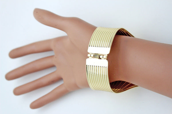 Gold Metal Yellow Cuff Bracelet Stripes Wings Fans Trendy New Women Fashion Jewelry Accessories - alwaystyle4you - 2