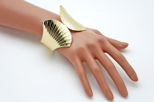 Gold Metal Yellow Cuff Bracelet Stripes Wings Fans Trendy New Women Fashion Jewelry Accessories - alwaystyle4you - 4