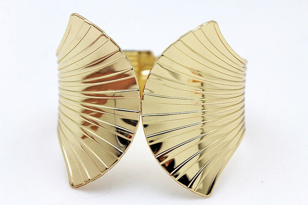 Gold Metal Yellow Cuff Bracelet Stripes Wings Fans Trendy New Women Fashion Jewelry Accessories - alwaystyle4you - 5
