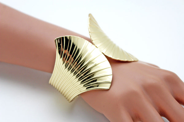 Gold Metal Yellow Cuff Bracelet Stripes Wings Fans Trendy New Women Fashion Jewelry Accessories - alwaystyle4you - 6