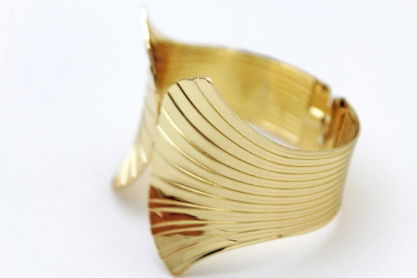 Gold Metal Yellow Cuff Bracelet Stripes Wings Fans Trendy New Women Fashion Jewelry Accessories - alwaystyle4you - 8