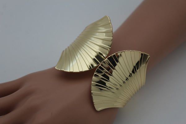 Gold Metal Yellow Cuff Bracelet Stripes Wings Fans Trendy New Women Fashion Jewelry Accessories - alwaystyle4you - 9