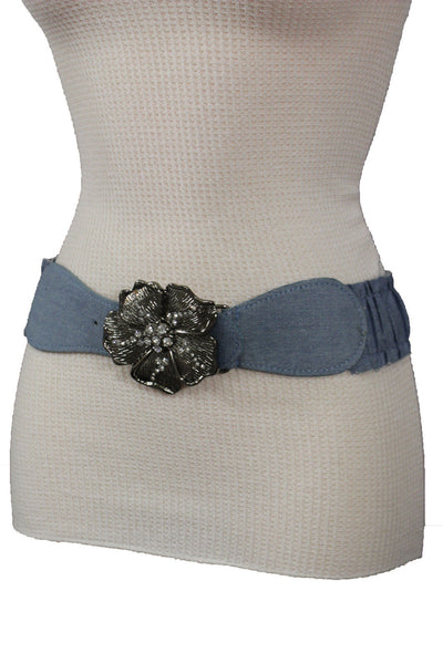 BLack / Light Blue Denim Fabric Belt Silver Big Flower Metal Statement Buckle New Women Fashion Accessories Size XS S - alwaystyle4you - 22