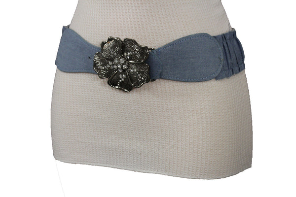 BLack / Light Blue Denim Fabric Belt Silver Big Flower Metal Statement Buckle New Women Fashion Accessories Size XS S - alwaystyle4you - 23