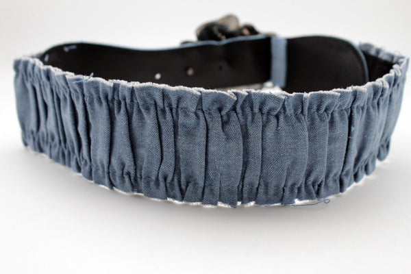 BLack / Light Blue Denim Fabric Belt Silver Big Flower Metal Statement Buckle New Women Fashion Accessories Size XS S - alwaystyle4you - 15