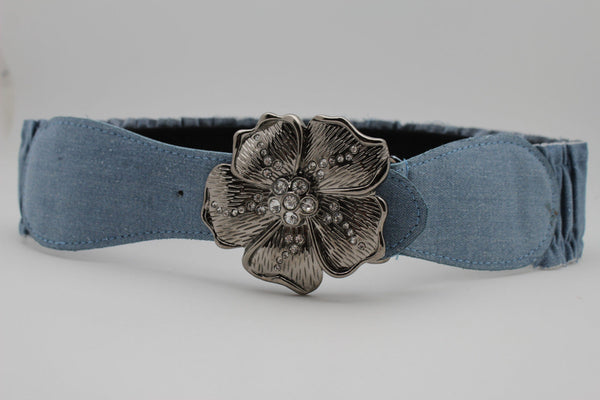 BLack / Light Blue Denim Fabric Belt Silver Big Flower Metal Statement Buckle New Women Fashion Accessories Size XS S - alwaystyle4you - 3