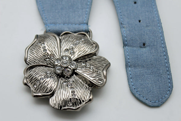 BLack / Light Blue Denim Fabric Belt Silver Big Flower Metal Statement Buckle New Women Fashion Accessories Size XS S - alwaystyle4you - 17