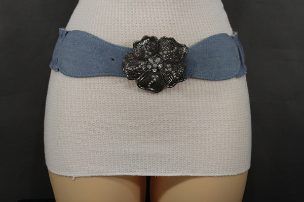 BLack / Light Blue Denim Fabric Belt Silver Big Flower Metal Statement Buckle New Women Fashion Accessories Size XS S - alwaystyle4you - 20
