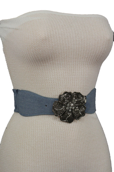 BLack / Light Blue Denim Fabric Belt Silver Big Flower Metal Statement Buckle New Women Fashion Accessories Size XS S - alwaystyle4you - 21