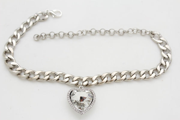Silver Metal Boot Chain Big Love Heart Anklet Fancy Shoe Charm New Women Fashion Jewelry Accessories